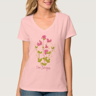 Watercolor I love Sweet Peas, Garden Flower Quote T-Shirt