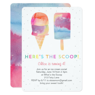 Watercolor Ice Cream Birthday Party Invite