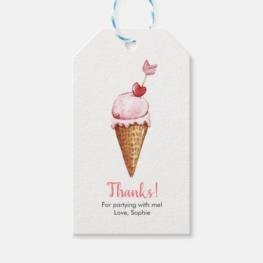 Watercolor Ice Cream Favor Tags