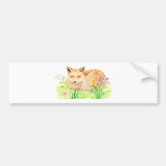 Watercolor illustration sleeping fox bumper sticker