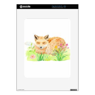 Watercolor illustration sleeping fox decal for the iPad