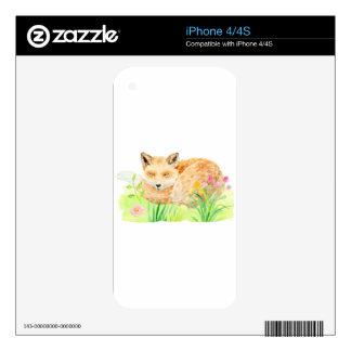 Watercolor illustration sleeping fox iPhone 4S decals