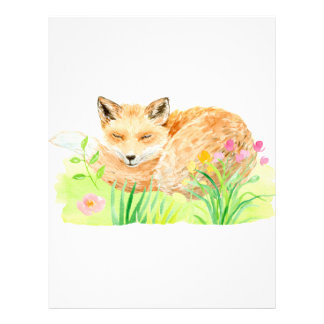 Watercolor illustration sleeping fox letterhead