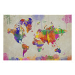 Watercolor Impression World Map Poster