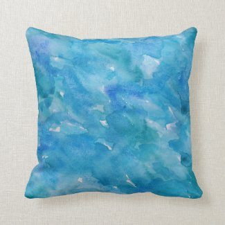 Watercolor in Cool Blues Pillows
