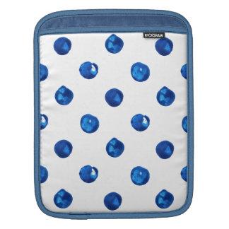 Watercolor indigo blue polka dots pattern sleeve for iPads