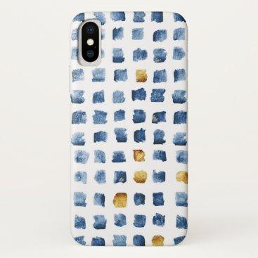 Watercolor Indigo Gold Geometrical Squares Pattern iPhone XS Case
