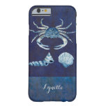 Watercolor Indigo Ocean Crab Sea Shells Nautical Barely There iPhone 6 Case