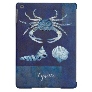 Watercolor Indigo Ocean Crab Sea Shells Nautical iPad Air Cases