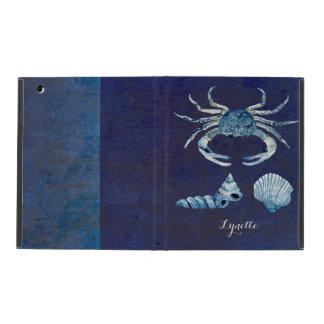 Watercolor Indigo Ocean Crab Sea Shells Nautical iPad Case