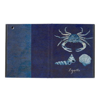 Watercolor Indigo Ocean Crab Sea Shells Nautical iPad Cases