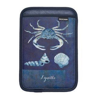 Watercolor Indigo Ocean Crab Sea Shells Nautical Sleeve For iPad Mini