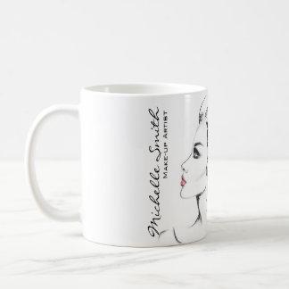 Watercolor ink black and white woman makeup coffee mug