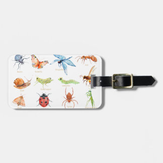 Watercolor insect illustration luggage tag