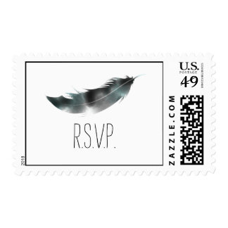 Watercolor Inspired Black Feather RSVP Postage