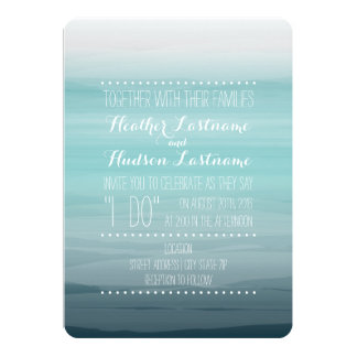 """Watercolor Inspired Ombre Wedding - Teal 5"""" X 7"""" Invitation Card"""