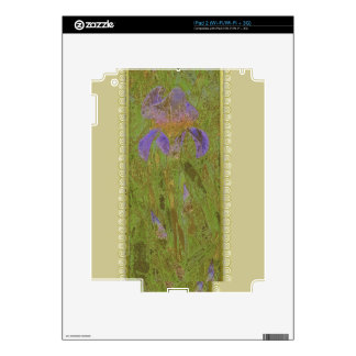 Watercolor Iris Gold & Lace on Tan Decals For The iPad 2