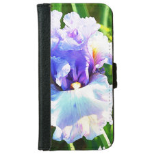 Watercolor Iris in Lavender and Blue iPhone 6 Wallet Case