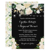 Watercolor Ivory Cream Floral String Light Wedding Invitation