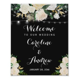 Watercolor Ivory Floral Wedding Welcome Sign