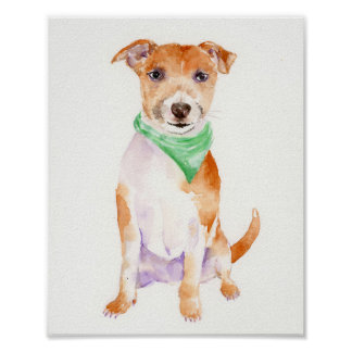 Watercolor Jack Russell Dog Portrait Art Print
