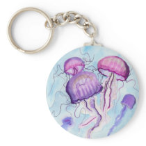 Watercolor Jellyfish Keychain