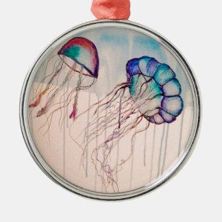 Watercolor Jellyfish Metal Ornament