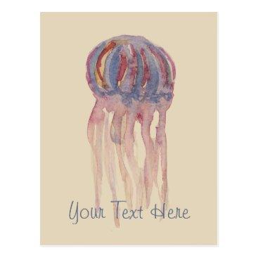 Beach Themed Watercolor Jellyfish Postcard