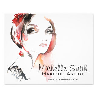 Watercolor jewellery make up artist branding flyer