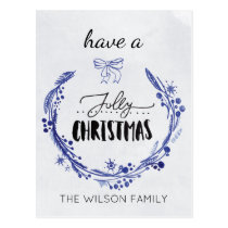 watercolor jolly christmas wreath Holiday cards