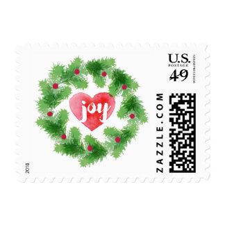 Watercolor Joy Pine Wreath Holiday Postage