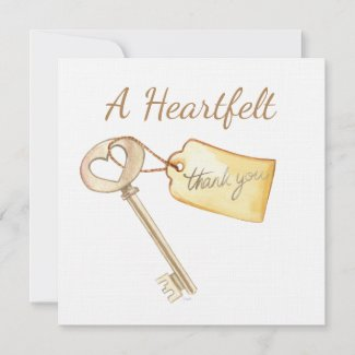 Watercolor Key to My Heart Thank You Card