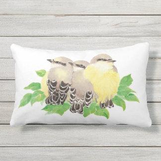 Watercolor Kingbird Family Bird Wildlife Art Lumbar Pillow