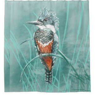 Watercolor Kingfisher Bird Nature Art Shower Curtain