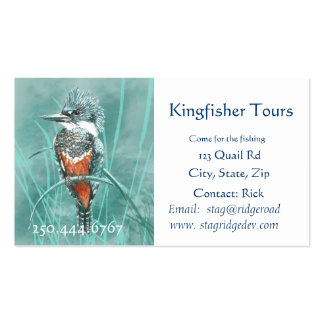 Watercolor Kingfisher Fishing Tours Business Logo Business Cards