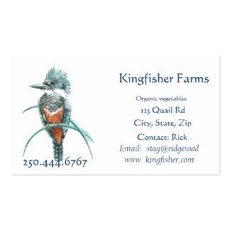 Watercolor Kingfisher Organic Farm Business Logo Business Card