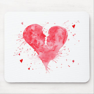 Watercolor kiss heart mouse pad
