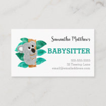 Watercolor Koala Babysitter Childcare Provider Business Card