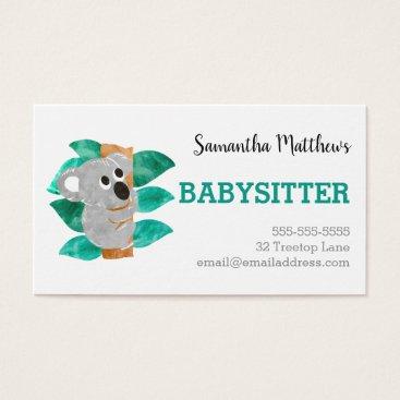 Watercolor Koala Babysitter Childcare Provider Business Card