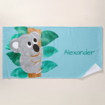 Watercolor Koala Bear Kids Personalized Cute Beach Towel
