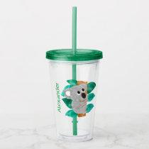 Watercolor Koala Kids Personalized Cute Green Acrylic Tumbler