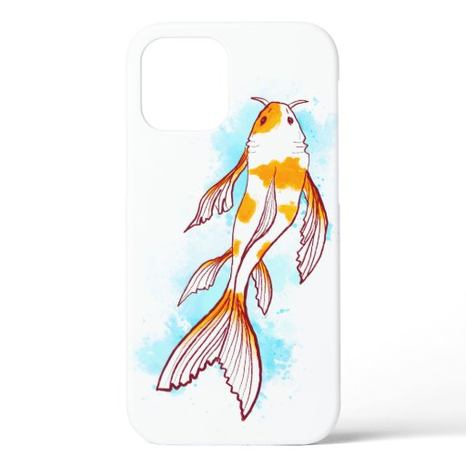 Watercolor Koi Fish Drawing on White Background iPhone 12 Case