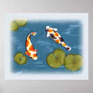 Watercolor Koi Pond Poster Print print