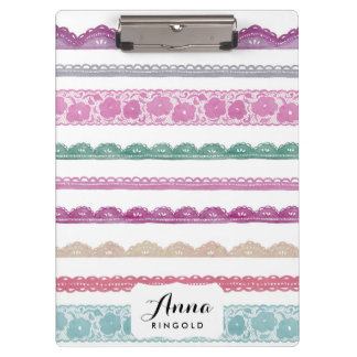 Watercolor Lace Ribbon Girly Rainbow Painted Clipboards