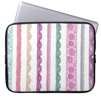 Watercolor Lace Ribbon Girly Rainbow Painted Laptop Sleeve