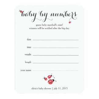 Watercolor Ladybug Baby Shower Guessing Game Card