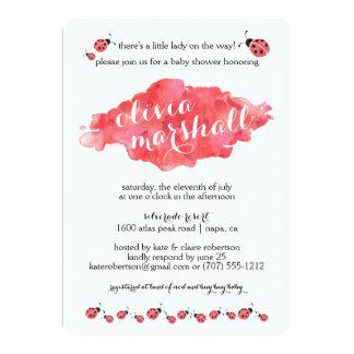 Watercolor Ladybug Girl Baby Shower Invitations