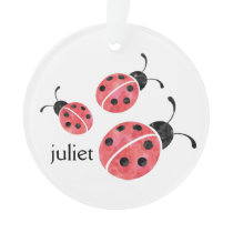 Watercolor Ladybug Personalized Ornament