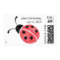 Watercolor Ladybug Personalized Postage Stamps