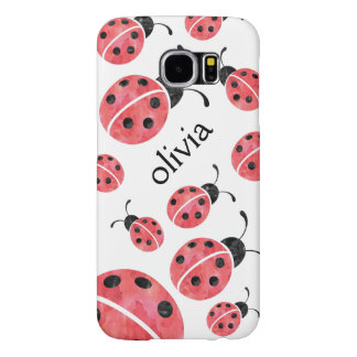 Watercolor Ladybug Personalized Samsung Case
